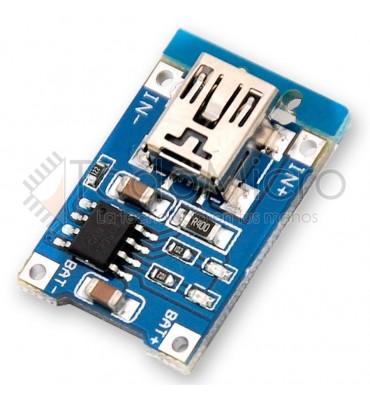 Modulo de carga de bateria de litio con entrada mini usb