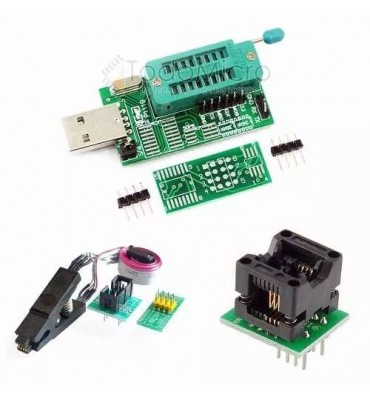 Combo Programador Usb Ch341a + Pinza + Cable + Adapt. Soic8 150mil