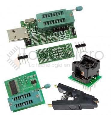 Combo Programador Usb Ch341a + Pinza + Adapt. Nivel de tensión 1.8v + Adapt. Soic8 150mil