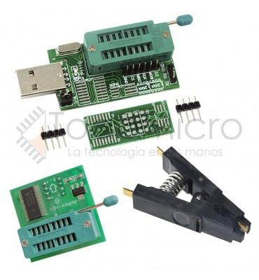 Combo Programador Usb Ch341a + Pinza + Adapt. Nivel de tensión 1.8v