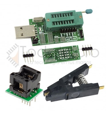 Combo Programador Usb Ch341a + Pinza Soic8 + Adapt. Soic8 150mil