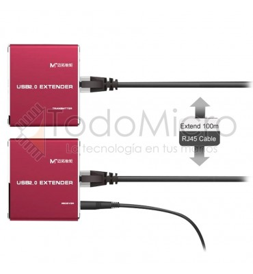 Extensor USB 2.0 por UTP activo hasta 100m
