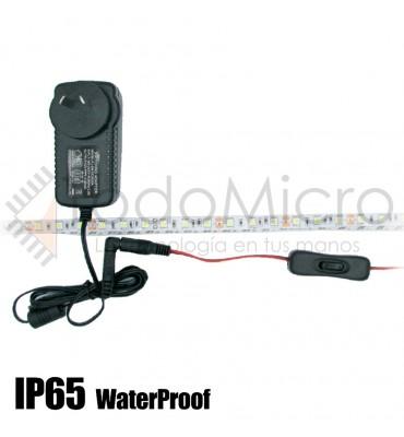 Tira de led 5050 60 led/m ip65 exterior con fuente y tecla