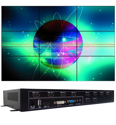 Controlador de pantallas videowall 10 pantallas 3x3 2x4 4x2 5x2 AG-610 HDMI, DVI, VGA y USB