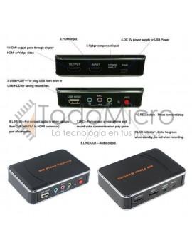 Capturadora de Video HDMI 1080p con entradas de micrófono