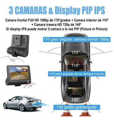 Camara 1080P  para auto de 3 Lentes  frontal interno y retroceso