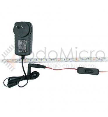 Tira de led 5050 60 led/m interior con fuente y tecla